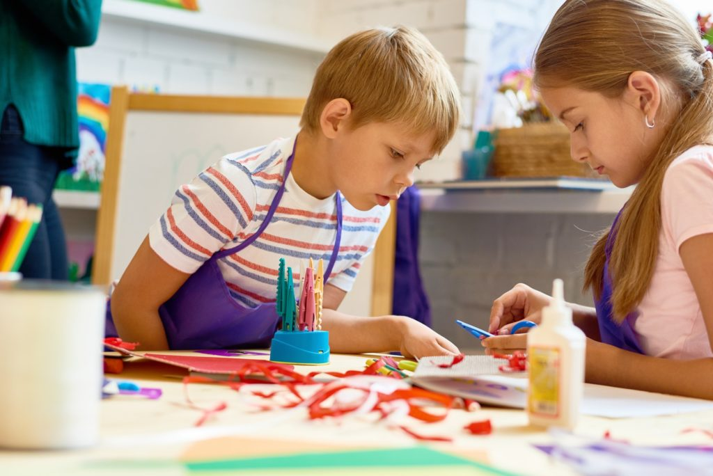Children Doing Handmade Crafts in School