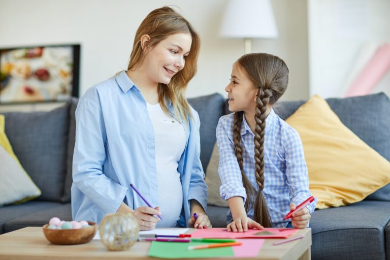 Girl with Mom Drawing